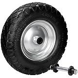 ECD Germany Rueda para carretilla con llanta de acero PU 4.80/4.00-8 390mm Rueda de Repuesto de goma maciza Negro