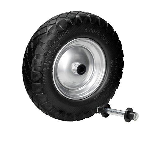 ECD Germany Schubkarrenrad aus pannensicherem Vollgummi - Reifen mit Stahlfelge - PU 4.80/4.00-8 - Durchmesser 390 mm Schwarz mit Blockprofil
