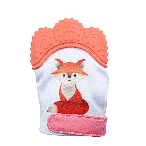 Grapes Garden Moufle de Dentition Bébé, Soulagement Apaisant de La Douleur Protège Les Mains de Bébé de et Mâcher - Gant de Dentition en Silicone, Sangle Réglable (Orange)