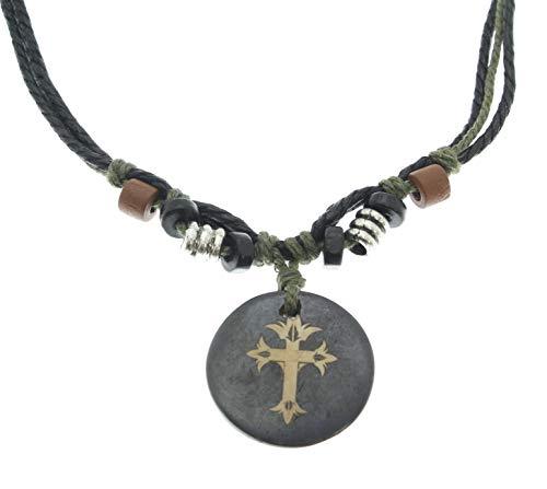 Halskette mit Kreuz Kruzifix geschnitzten Knochen Anhänger - voll verstellbar - schwarz & grün Cord ()