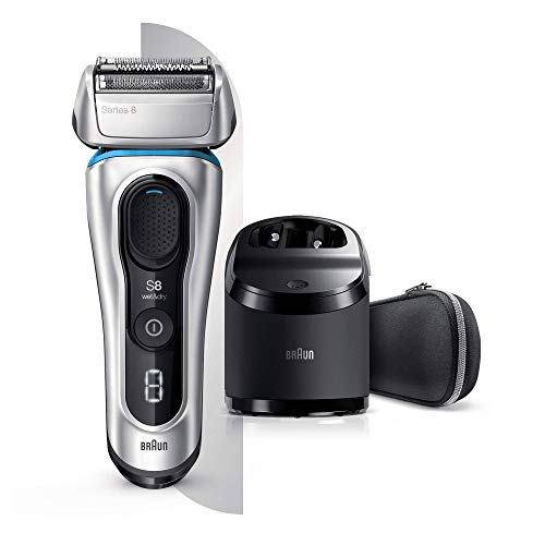 Braun Series 8 8390cc Next Generation, Electric Shaver, Rechargeable and Cordless Razor, Clean and Charge Station with Fabric Travel Case, Wet and Dry, Foil Shaver, 100 Percent Waterproof, Silver