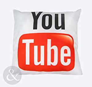 NEW FUNKY YOU TUBE 45 x 45 cm Coussin de Youtube Noir/blanc impression Rouge Blanc Noir Coussin garni Youtube Coussin garni Rouge 43 x 43 cm