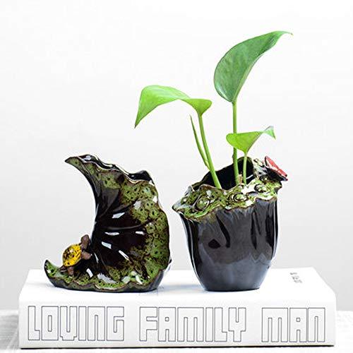 XOSHX (2 Stücke) Hydroponischen Kleine Vase Keramikbehälter Mini Wasser Blumentopf Pflanze Utensilien Wohnzimmer Dekoration