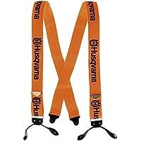Husqvarna - Tirantes Naranja / Negro Estilo Leñador para Pantalones con Botones