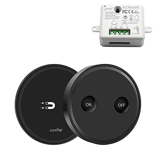 LoraTap 868MHz Kit de Interruptor Inalámbricas Negro + Receptor de Relevo Blanco para Luz Lámpara Techo Ventilador Electrodomésticos, 2500W, 200m Mando a Distancia, 5 Años de Garantía