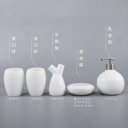 XXN-Colazione continentale semplice ceramiche sanitarie PCs articoli da toeletta con denti mug kit di lavaggio,Bone (Bone China Crema)