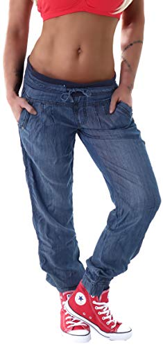 Harem Damen Jeans (Damen Aladin Harem Jeans Hose Baggy Boyfriend Pluderhose Blau S 36 M 38 L 40 XL 42 gr größe size hüfthose-n sommerhose-n locker lässig low waist rise haremshose-n haremsjeans boyfriendhose-n gummibund)