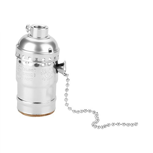 bestgift Vintage Leuchtmittel Sockel E27Aluminium Halter Ersatz mit Pull Kette Schreibtisch Lampe Beleuchtung Edison Leuchtmittel Schraube Boden silber (- Gebürstetem Nickel-basis)