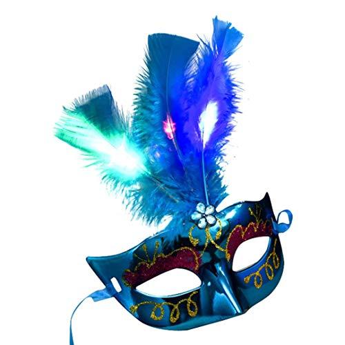 Huhu833 Feather Masken, Halloween Damen Venezianische LED Faser Maske Maskerade Kostümfest Prinzessin Feather Masken (Blau)