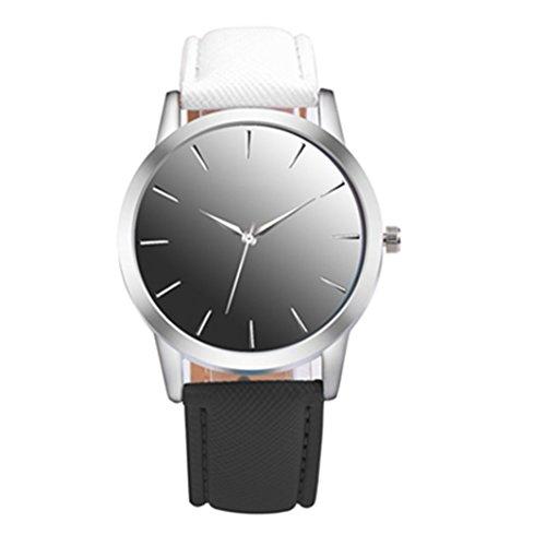 Flybuild, Analoge Armbanduhr für Damen, mit Quarzuhrwerk und Kunstlederband, Zweifarbig, Legierung, Weiß/Schwarz, Einheitsgröße -