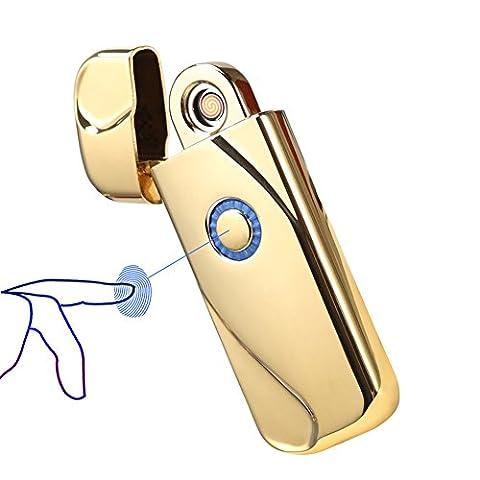 Fil de tungstène léger, Sunwbak d'empreinte digitale Touch Sense rechargeable USB Briquet électronique Zink-alloy classique Cigaretter éclairage coupe-vent sans flamme allume-cigare Fire Starters, doré
