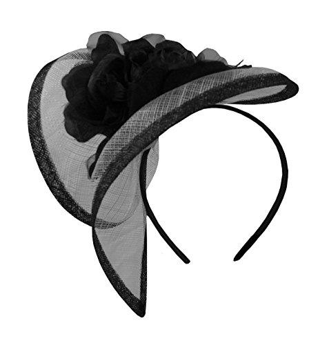 Blumenhut 50er-Stil aus Sinamay in schwarz/weiß, schwarz/rot, lila, blau, braun, für Hochzeit und Sportveranstaltungen Gr. One size, schwarz / weiß