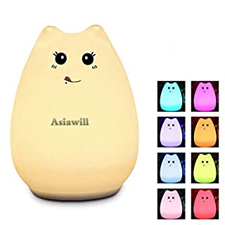 Asiawill USB Rechargeable Silicone Colorful Charging Night Light LED 7-Color Changing Cute Cat Night Light for Kid Birthday Gift Valentine Present (Glutton cat)