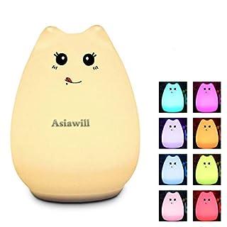 Asiawill USB-wiederaufladbares Silikon-Nachtlicht mit 7 Farben wechselnd, niedliches Katzen-Nachtlicht für Kinder, Geburtstagsgeschenk, Valentinstagsgeschenk Glutton Cat