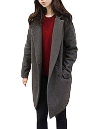 08b132efce0a Femme Hiver Mélange de Laine Manteau Veste Longue Casual Manteau d hiver  Veste Trench Coat