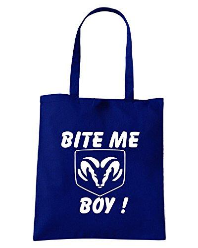 T-Shirtshock - Borsa Shopping FUN0801 bite me dodge boy decal 26960 Blu Navy