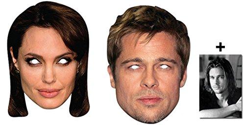 Brad Pitt & Angelina Jolie Karte Partei Gesichtsmasken (Maske) Packung von 2 - Enthält 6X4 (15X10Cm) (Kostüme Promi Hollywood)