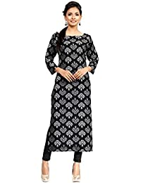 Ziyaa Black Colour Boat Neck With 3/4 Sleeve Faux Crepe Digital Print Kurti