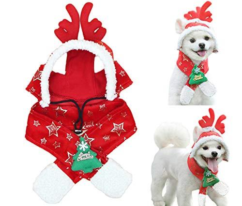 Rentier Kostüm Männliche - BeeChamp Hunde-Schal mit Kapuze, Weihnachtsmotiv, Rentier-Geweih, L, rot