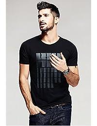 EG Black Designer Printed Round Neck T-shirt For Mens