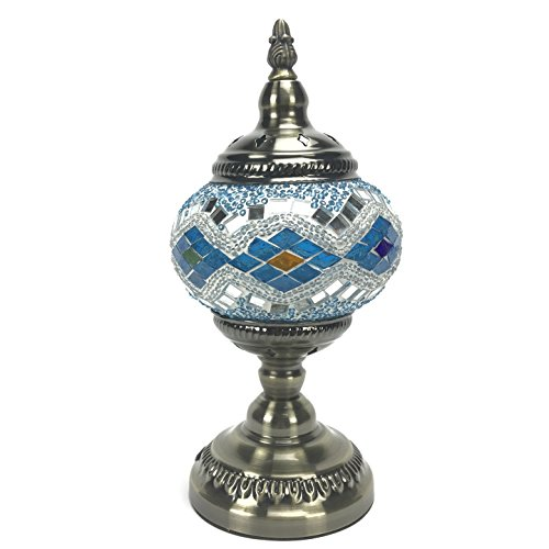 Tokin Handmade Turkish and Tiffany-style Mosaic Glass Bronze Metal Base Table Lamp with UK Plug and switch