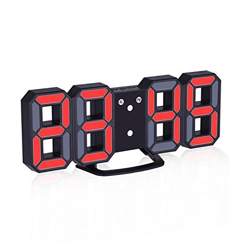 EVILTO- LED Digital-Wecker dimmbar, Digital LED Tisch & Wanduhr Wecker mit einstellbarer Helligkeit Funktion für Schreibtisch Wand Bett (Schwarz-Rot) (Wand-bett Schreibtisch)