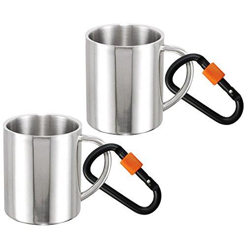 com-four® 2X Edelstahl-Kaffeebecher - Thermo-Trinkbecher aus hochwertigem Edelstahl - Kaffeepott bruchsicher - doppelwandige Isolierbecher - BPA Free (2 Stück - 260ml mit CF Karabiner schwarz/orange) Camping-becher