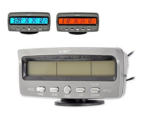 DSstyles Auto Temperaturanzeige 3 in 1 Digital Auto Thermometer Auto Uhr mit Voltmeter Monitor, LCD Bildschirm, Einfrieren Alarm, blau und orange Hintergrundbeleuchtung DC 12V