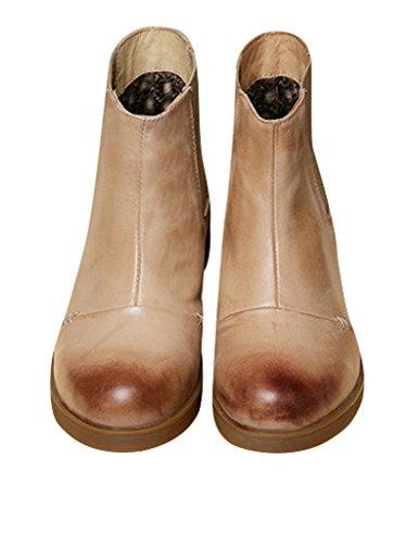 Youlee Frauen Retro Flache Stiefel Mode Leder Stiefeletten Aprikose
