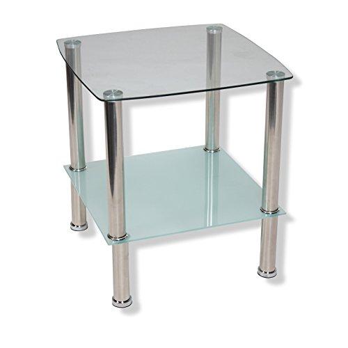 Unbekannt ROLLER Beistelltisch TWIGGI - Glasplatten - silber - Milchglas