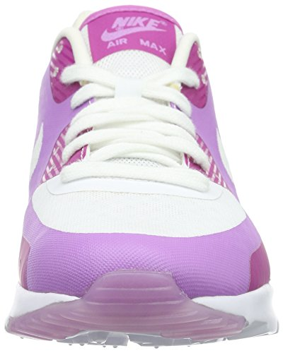 Nike Wmns Air Max 90 Ultra Breathe, Baskets Basses Femme Blanc - Weiß (White / Fuchsia)