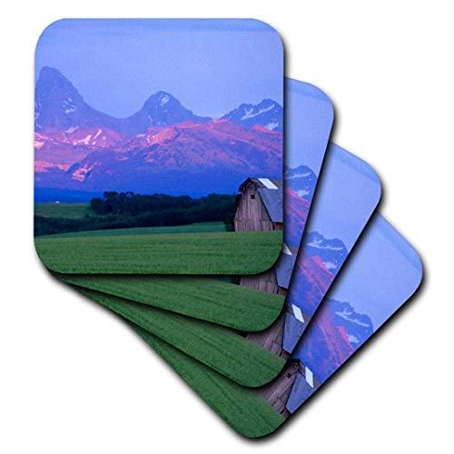 3dRose CST 89967Danita Delimont-Scheunen-Rustikal Scheune, Weizen Field, Teton Mountain Range, Idaho-US13cha0079-Chuck Haney-Untersetzer, Gummi, set-of-8-Soft -