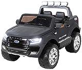 Actionbikes Motors Kinder Elektroauto Ford Ranger Modell 2018 Allrad 4x4 / 2x4 Lizenziert SUV 2 Personen 4 x 12 V 45 Watt (Total 180 Watt) (Schwarz Matt lackiert)