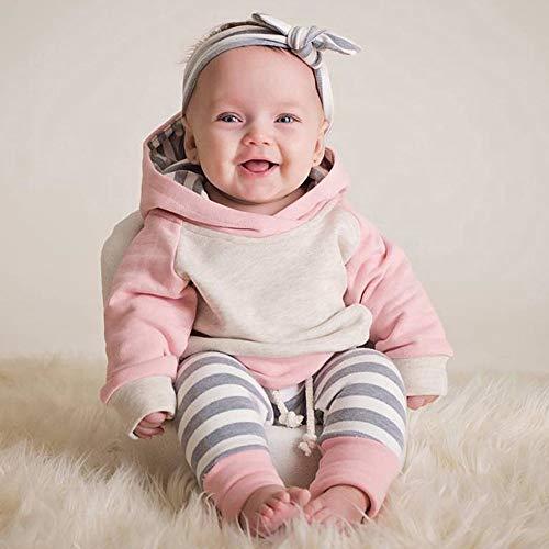 Baby Kapuzenpulli Honestyi 3pcs Kleinkind Baby Boy Girl Kleidung Set Hoodie Tops + Pants + Stirnband Outfits (Roas,90)