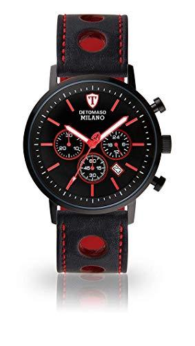 DETOMASO Milano XL Herren-Armbanduhr Chronograph Analog Quarz schwarz rotes Zifferblatt schwarzes Lederarmband DT1082-B-837
