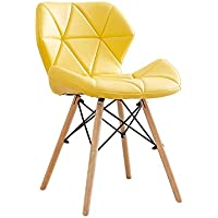 YY_C1 Silla PU + Wood + Metal 50CM * 38CM * 73CM (Color : Amarillo)