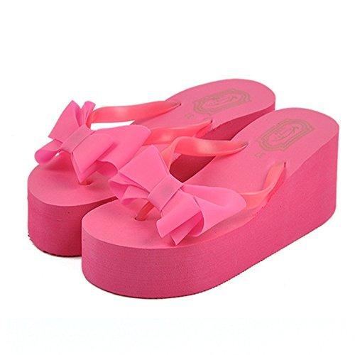 ms estate tacco alto arco pantofole antiscivolo piattaforma cunei solleva la spiaggia sandali rose red
