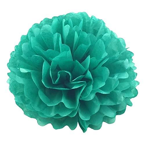 FLY-plant 10 cm Seidenpapier-Kugel Blumenkugeln für Hochzeit, Raumdekoration, Party, Heimwerker, Bastelpapier, Blumen, Plastik, 16 Teal, 15 cm
