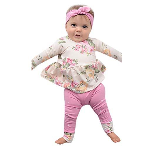 Janly Neugeborenes Baby Floral Tops Dress Pants Dot Leggings Outfits Kleidung Set Infant Floral Floral Dot Rockhose eingestellt (90, Rosa) Dot Legging-set