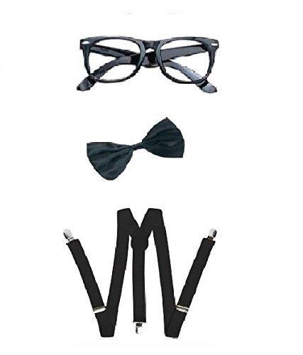 Nerd Bow Tie, Braces and Geek Glasses Kit Fancy Dress (Black)