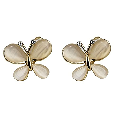 YAZILIND Cute Butterflies Cat Eye No Pierced Clip On Earrings For Women Mothers Day Gifts