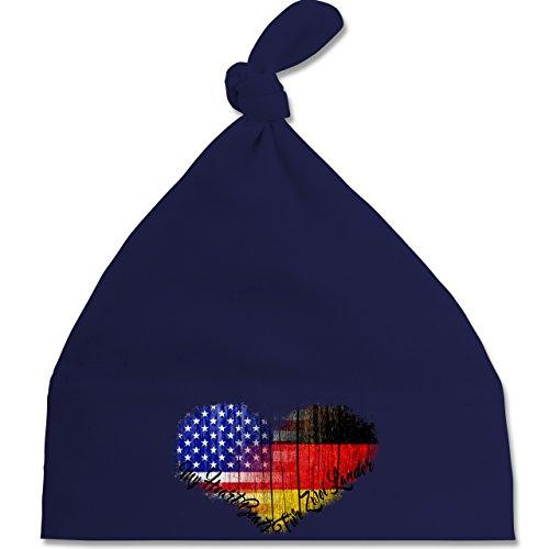 Flaggen - Deutsch-Amerikanische-Flagge-Herz - Unisize - Navy Blau - BZ15 - Baby Knotenmütze Mützchen (Cap States United Mütze Navy)