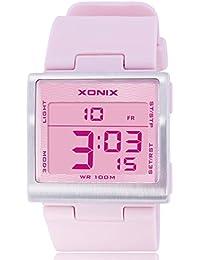 Reloj electrónico digital de múltiples funciones de los ni?os,Plaza jalea led 100 m resina resistente al agua alarma cronómetro hora dual chicas o chicos moda reloj de pulsera-D