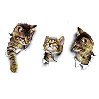 3pcs/lot Cats Toilet Switch Stickers Cartoon Switch Protected Wall Stickers Vinyl Decals For Home Poster Mural DIY 3D Vivid Decor