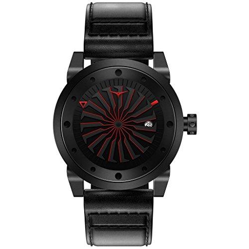 ZINVO Corsa Reloj Hombre Piel Negro Automatico Acero Rojo