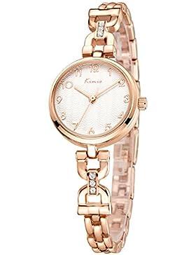 Alienwork Quarz Armbanduhr Armreif Kette wickeln Quarzuhr Uhr elegant modisch weiss rose gold Metall YH.K6202S-03