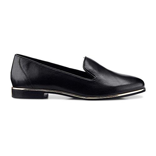 Cox Damen Damen Trend-Slipper aus Leder, Loafer in Schwarz mit kleinem Absatz schwarz Leder 38