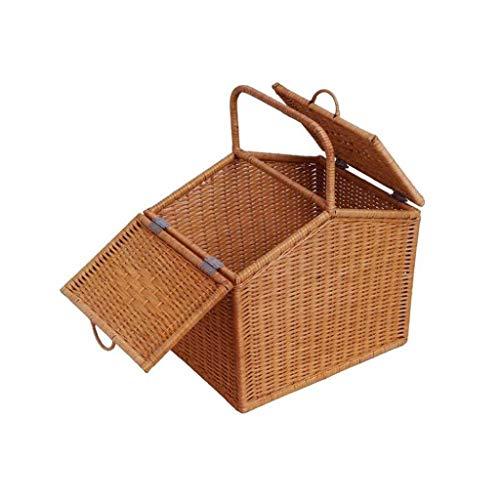 YJLGRYF Regale Woven Storage Basket Desktop Toys Kleinigkeiten Snacks Schlüssel Aufbewahrungsbox Aufbewahrungskorb Schlafsaal Aufbewahrungskorb Rattan Frame Portable Regalböden -