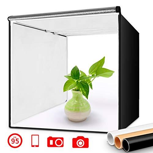 FOSITAN Fotostudio 40x40x40cm Lichtzelt Tragbare Faltbare Studiobox mit 2X LED Beleuchtung, 3 Hintergründe (weiß, schwarz, orange)