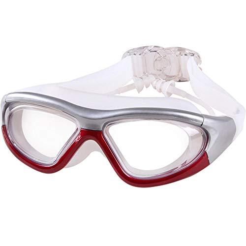 Siamesische Ohrenstöpsel, flache Brille, wasserdichte und beschlagfreie Brille, Erwachsenenbrille, einstellbare UV-Schutzbrille, unisex, rot, 150 * 150 * 58 mm -